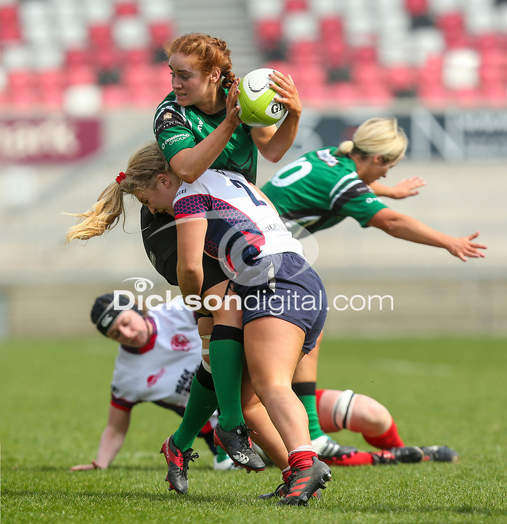 Saturday 20th April 2019 | 2019 Ulster Women's Junior Cup Final<br /> <br /> Donna Redmond is tackled by Neve Jones during the Ulster Women's Junior Cup final between Malone and City Of Derry at Kingspan Stadium, Ravenhill Park, Belfast. Northern Ireland. Photo John Dickson/Dicksondigital