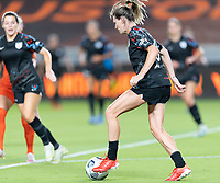 HOUSTON, TX - SEPTEMBER 10: Arin Wright #3 of the Chicago Red Stars brings the ball up the field during a game between Chicago Red Stars and Houston Dash at BBVA Stadium on September 10, 2021 in Houston, Texas.
