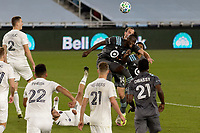 ST PAUL, MN - NOVEMBER 4: Kei Kamara #16 of Minnesota United FC with the header during a game between Chicago Fire and Minnesota United FC at Allianz Field on November 4, 2020 in St Paul, Minnesota.