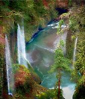 Seasonal waterfalls (unnamed) into Eagle Creek. Columbia River Gorge National Scenic Area, Oregon