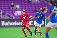 ORLANDO, FL - FEBRUARY 24: Jade Rose #3 of the CANWNT kicks the ball during a game between Brazil and Canada at Exploria Stadium on February 24, 2021 in Orlando, Florida.