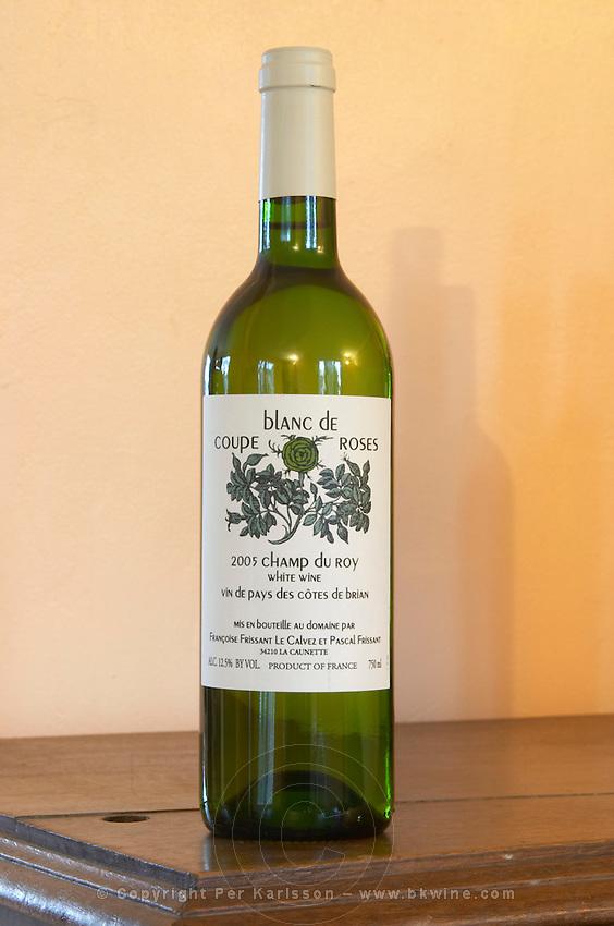 Chateau Coupe Roses, La Caunette. Champ du Roy. Vin de Pays des Cotes de Brian. Minervois. Languedoc. France. Europe. Bottle.