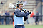 Baltimore- February 4: Nikhon Schuler of Hopkins prepares for  exhibition between Johns Hopkins and Penn State at Homewood Field on February 04, 2012 in Baltimore, MD.
