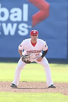 Ryan McBroom #14 of the Vancouver Canadians during a game against the Hillsboro Hops at Nat Bailey Stadium on July 24, 2014 in Vancouver, British Columbia. Hillsboro defeated Vancouver, 7-3. (Larry Goren/Four Seam Images)