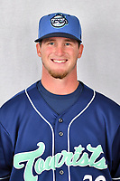 Asheville Tourists pitcher Nick Bush (29) during media day at McCormick Field on April 2, 2019 in Asheville, North Carolina. (Tony Farlow/Four Seam Images)