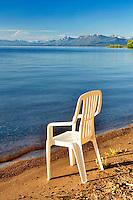 Chair on beach of Lake Tahoe. California