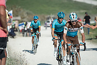 Alexis Vuillermoz (FRA/AG2R - La Mondiale) at the gravel section atop the Montée du plateau des Glières (HC/1390m)<br /> <br /> Stage 18 from Méribel to La Roche-sur-Foron (175km)<br /> <br /> 107th Tour de France 2020 (2.UWT)<br /> (the 'postponed edition' held in september)<br /> <br /> ©kramon
