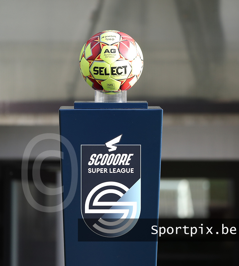 Match ball on Scooore Super League podium pictured before  a female soccer game between Oud Heverlee Leuven and Eendracht Aalst Ladies  on the third matchday of the 2020 - 2021 season of Belgian Womens Super League , Sunday 4 th of October 2020  in Heverlee , Belgium . PHOTO SPORTPIX.BE | SPP | SEVIL OKTEM