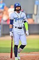 Asheville Tourists Carlos Machado (4) during a game against the Greenville Drive on July 13, 2021 at McCormick Field in Asheville, NC. (Tony Farlow/Four Seam Images)