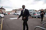 Dagenham and Redbridge 1 Burton Albion 3, 21/02/2015. Victoria Road, League Two. Jimmy Floyd Hasselbaink arrives at the stadium. Burton Albion moved to the top of League Two following a hard-fought win over Dagenham & Redbridge played in-front of 1,718 supporters. Photo by Simon Gill.
