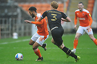 Blackpool's Grant Ward under pressure from Milton Keynes Dons' Dean Lewington<br /> <br /> Photographer Kevin Barnes/CameraSport<br /> <br /> The EFL Sky Bet League One - Blackpool v Milton Keynes Dons - Saturday 24 October 2020 - Bloomfield Road - Blackpool<br /> <br /> World Copyright © 2020 CameraSport. All rights reserved. 43 Linden Ave. Countesthorpe. Leicester. England. LE8 5PG - Tel: +44 (0) 116 277 4147 - admin@camerasport.com - www.camerasport.com