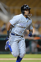 Peoria Javelinas outfielder Jorge Bonifacio (22), of the Kansas City Royals organization, during an Arizona Fall League game against the Glendale Desert Dogs on October 14, 2013 at Camelback Ranch Stadium in Glendale, Arizona.  Glendale defeated Peoria 5-1.  (Mike Janes/Four Seam Images)