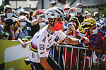World Champion Julian Alaphilippe (FRA) Deceuninck-Quick Step arrives at sign on before Stage 7 of the 2021 Tour de France, running 249.1km from Vierzon to Le Creusot, France. 2nd July 2021.  <br /> Picture: A.S.O./Pauline Ballet | Cyclefile<br /> <br /> All photos usage must carry mandatory copyright credit (© Cyclefile | A.S.O./Pauline Ballet)