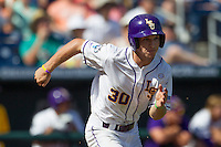 Louisiana State shortstop Alex Bregman (30) runs to first base against the North Carolina Tar Heels during Game 7 of the 2013 Men's College World Series on June 18, 2013 at TD Ameritrade Park in Omaha, Nebraska. The Tar Heels defeated the Tigers 4-2, eliminating LSU from the tournament. (Andrew Woolley/Four Seam Images)