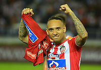 BARRANQUIILLA - COLOMBIA, 29-11-2018:Jarlam Barrera de Junior celebra después del encuentro entre Atlético Junior de Colombia e Independiente Santa Fe de Colombia por la semifinal, vuelta, de la Copa CONMEBOL Sudamericana 2018 jugado en el estadio Roberto Meléndez de la ciudad de Barranquilla. / Jarlam Barrera of Junior celebrates after a semifinal second leg match between Atletico Junior of Colombia and Independiente Santa Fe of Colombia as a part of Copa CONMEBOL Sudamericana 2018 played at Roberto Melendez stadium in Barranquilla city Atletico Junior de Colombia e Independiente Santa Fe de Colombia en partido por la semifinal, vuelta, de la Copa CONMEBOL Sudamericana 2018 jugado en el estadio Roberto Meléndez de la ciudad de Barranquilla. / Atletico Junior of Colombia and Independiente Santa Fe of Colombia in Semifinal second leg match as a part of Copa CONMEBOL Sudamericana 2018 played at Roberto Melendez stadium in Barranquilla city.  Photo: VizzorImage/ Alfonso Cervantes / Cont
