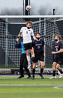Oregon's Mason Diercks (3) heads the ball in front of the Waunakee goal, as Oregon takes on Waunakee in Wisconsin WIAA Badger Conference boys high school soccer on Tuesday, Apr. 27, 2021 at Waunakee High School