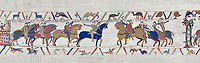 Bayeux Tapestry scene 13 :  Guy de Ponthieu, left,  hands Harold over to William the Conqueror, right. BYX13