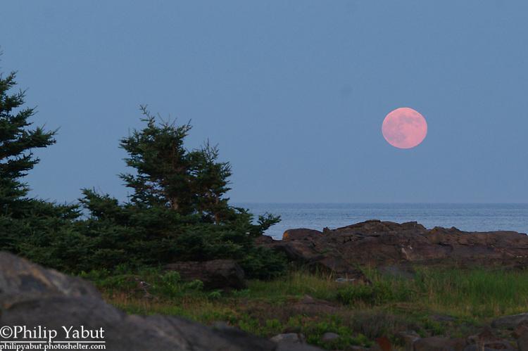 The full Buck Moon rises over Lobster Cove on Monhegan Island, Maine