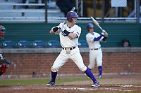Justice Bigbie (18) of the Western Carolina Catamounts at bat against the St. John's Red Storm at Childress Field on March 13, 2021 in Cullowhee, North Carolina. (Brian Westerholt/Four Seam Images)
