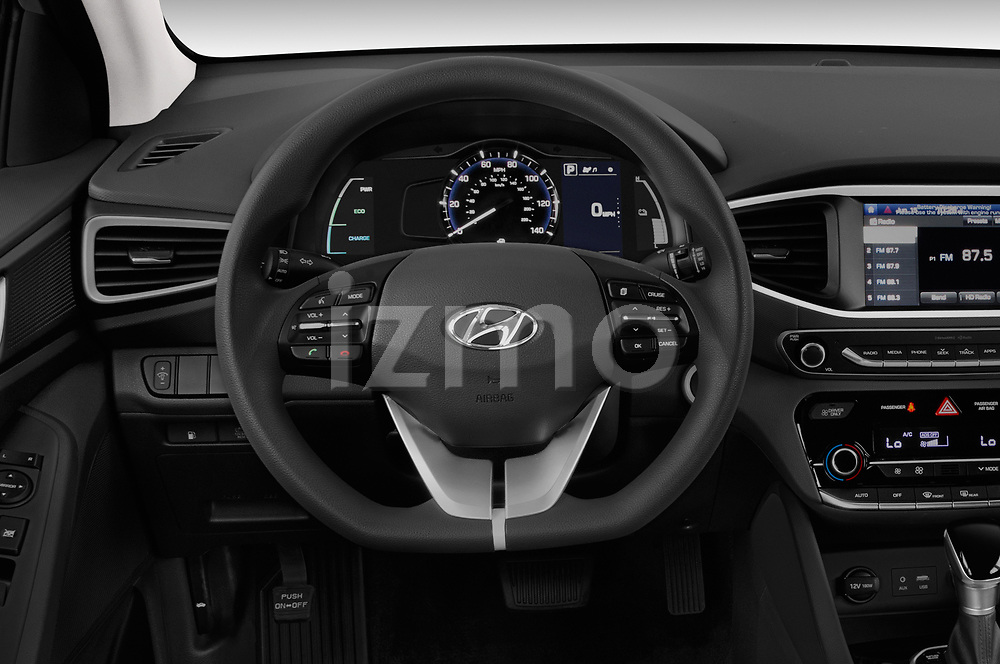 Car pictures of steering wheel view of a 2019 Hyundai Ioniq Hybrid Blue 5 Door Hatchback