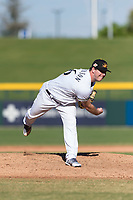 Mesa Solar Sox relief pitcher Aaron Wilkerson (56), of the Milwaukee Brewers organization, follows through on his delivery during an Arizona Fall League game against the Salt River Rafters at Sloan Park on October 30, 2018 in Mesa, Arizona. Salt River defeated Mesa 14-4 . (Zachary Lucy/Four Seam Images)