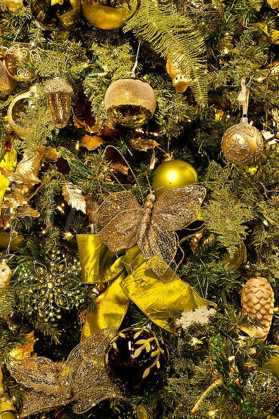 Ornately decorated Christmas tree.