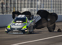 Feb 11, 2017; Pomona, CA, USA; NHRA funny car driver Alexis DeJoria during qualifying for the Winternationals at Auto Club Raceway at Pomona. Mandatory Credit: Mark J. Rebilas-USA TODAY Sports