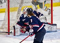 9 February 2020: University of Connecticut Husky Goaltender Morgan Fisher, a Senior from Vernon, CT, gives up the last goal of the game in the third period against the University of Vermont Catamounts at Gutterson Fieldhouse in Burlington, Vermont. The Lady Cats defeated the Huskies 6-2 in the second game of their weekend Hockey East series. Mandatory Credit: Ed Wolfstein Photo *** RAW (NEF) Image File Available ***