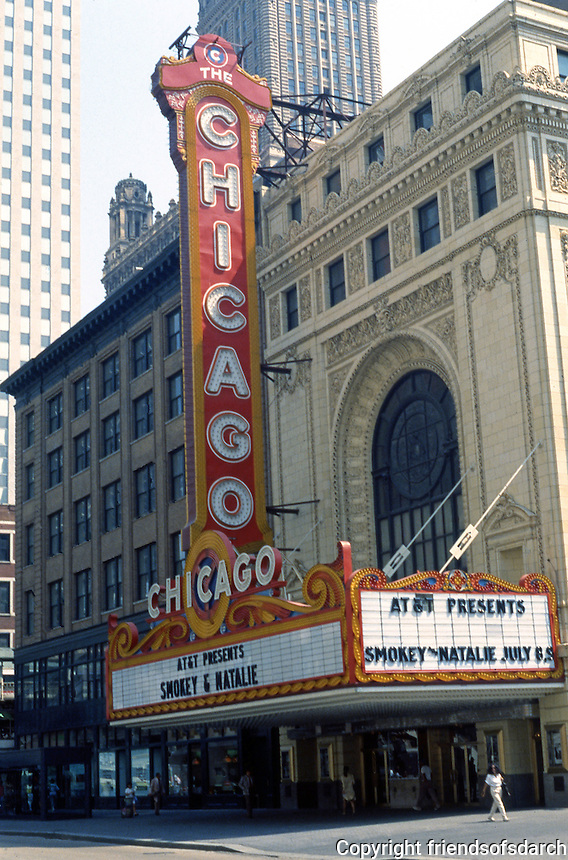 Movie Theatre: Chicago, IL. The Chicago Theater, 175 N. State St., 1921. C.W. & George Rapp. Photo '88.