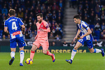 Lionel Messi of FC Barcelona (C) in action during the La Liga 2018-19 match between RDC Espanyol and FC Barcelona at Camp Nou on 08 December 2018 in Barcelona, Spain. Photo by Vicens Gimenez / Power Sport Images