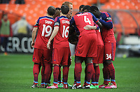 Washington, D.C.- March 29, 2014. Chicago Fire before the second half.  The Chicago Fire tied D.C. United 2-2 during a Major League Soccer Match for the 2014 season at RFK Stadium.