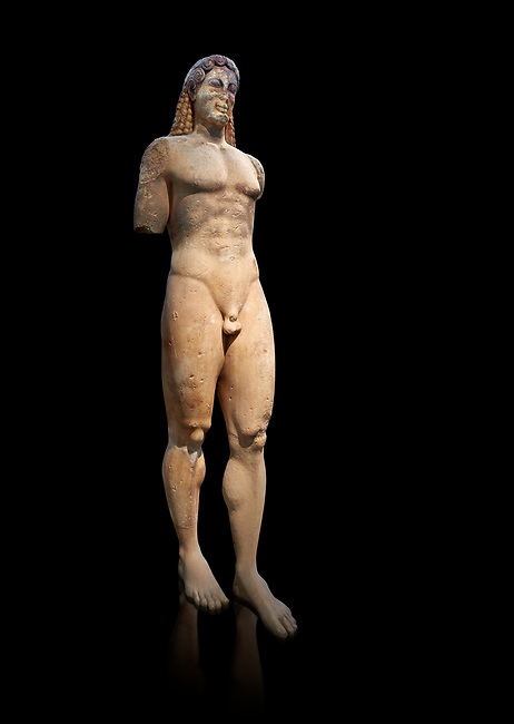 Marble Anxcient Greek Archaic meble statue of a kouros, circa 530 BC, found in Kea,  Athens National Archaeological Museum. Cat no 3886.  Against blackb<br /> <br /> The statue is a lively sculpture with good plasticity in the rendering of the torso. Made by a Kea sculptor.
