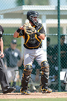 Pittsburgh Pirates catcher Reese McGuire (7) during an Instructional League game against the New York Yankees on September 18, 2014 at the Pirate City in Bradenton, Florida.  (Mike Janes/Four Seam Images)