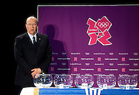 30 MAY 2012 - LONDON, GBR - IHF First Vice President Miguel Roca speaks during the London 2012 Olympic Games Handball Draw at the National Sports Centre in Crystal Palace, Great Britain .(PHOTO (C) 2012 NIGEL FARROW)