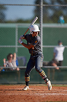 Korbyn Dickerson (4) during the WWBA World Championship at Lee County Player Development Complex on October 9, 2020 in Fort Myers, Florida.  Korbyn Dickerson, a resident of Jeffersonville, Indiana who attends Trinity High School, is committed to Louisville.  (Mike Janes/Four Seam Images)