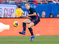 FRISCO, TX - MARCH 11: Abby Dahlkemper #7 of the United States passes the ball during a game between Japan and USWNT at Toyota Stadium on March 11, 2020 in Frisco, Texas.