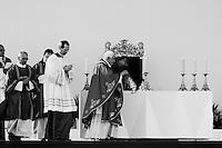 Pope Benedict XVI, holding a censer, celebrates the open-air mass in Stara Boleslav, one of the main pilgrimage site of the Czech Republic, September 28, 2009.
