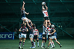 Aio Mimura of Japan (r) is lifted for teammates during the Womens Rugby World Cup 2017 Qualifier match between Hong Kong and Japan on December 17, 2016 in Hong Kong, Hong Kong. Photo by Marcio Rodrigo Machado / Power Sport Images