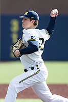 Michigan Wolverines pitcher Blake Beers (29) delivers a pitch to the plate against the Western Michigan Broncos on March 18, 2019 in the NCAA baseball game at Ray Fisher Stadium in Ann Arbor, Michigan. Michigan defeated Western Michigan 12-5. (Andrew Woolley/Four Seam Images)