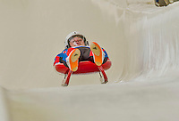 5 December 2014: Ondrej Hyman, sliding for the Czech Republic, crosses the finish line on his first run, ending the day with a 22nd place finish and a combined 2-run time of 1:44.535 in the Men's Competition at the Viessmann Luge World Cup, at the Olympic Sports Track in Lake Placid, New York, USA. Mandatory Credit: Ed Wolfstein Photo *** RAW (NEF) Image File Available ***