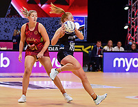 24th September 2021: Christchurch, New Zealand;  Samantha Winders of the Silver Ferns eludes Eleanor Cardwell of England during the third Cadbury Netball Series/Taini Jamison Trophy, New Zealand Silver Ferns versus England Roses, Christchurch Arena, Christchurch, New Zealand