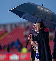 23rd May 2021; Gateshead International Stadium, Gateshead, Tyne and Wear, England; Muller Diamond League Grand Prix Athletics, Gateshead; Laura Muir under umbrella as she is interviewed by the BBC after winning the 1500 metres final