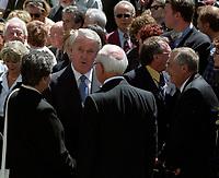 FILE PHOTO : Brian Mulroney attend Former FTQ Union leader Louis Laberge funerals, July 24, 2002<br /> <br /> <br /> <br /> <br /> <br /> <br /> <br /> <br /> <br /> <br /> <br /> .