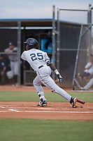 AZL Padres 1 first baseman Carlos Luis (25) starts down the first base line during an Arizona League game against the AZL Padres 2 at Peoria Sports Complex on July 14, 2018 in Peoria, Arizona. The AZL Padres 1 defeated the AZL Padres 2 4-0. (Zachary Lucy/Four Seam Images)
