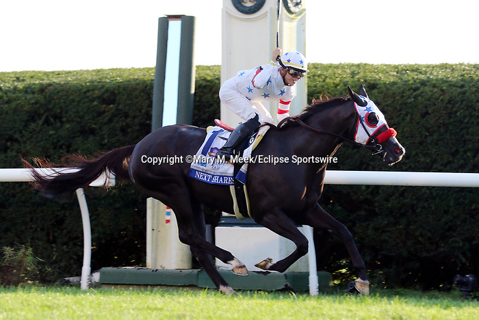 October 06, 2018 : Next Shares, ridden by Tyler Gaffalione, wins the 33rd running of the G1 Shadwell Turf Mile at Keeneland on October 6, 2018 in Lexington, Kentucky. Trainer Richard Baltas, Owners Michael Ivarone, Jules Ivarone, Jerry McClanahan, ChristopherT. Dunn, William Marasa, Ritchie Robershaw, and Mark Taylor. Mary M. Meek/ESW/CSM