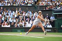 10th July 2021. Wilmbledon, SW London England. Wimbledon Tennis Championships 2021, Ladies singles final Ashleigh Barty versus Karolina Pliskova (Czech); Ashleigh Barty (Aus) returns