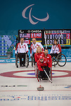 Sochi, RUSSIA - Mar 10 2014 -  Mark Idesonm, Dennis Thiessen and Ina Forrest looks on as USA takes a shot during Canada vs USA in Wheelchair Curling round robin play at the 2014 Paralympic Winter Games in Sochi, Russia.  (Photo: Matthew Murnaghan/Canadian Paralympic Committee)