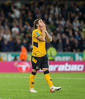 22nd September 2021; Molineux Stadium, Wolverhampton,  West Midlands, England; EFL Cup football, Wolverhampton Wanderers versus Tottenham Hotspur; Ruben Neves of Wolverhampton Wanderers with his hands on his head and looks up after missing the goal during the penalty shoot out