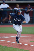 Aaron Anderson (9) of the Liberty Flames hustles down the first base line against the Bellarmine Knights at Liberty Baseball Stadium on March 9, 2021 in Lynchburg, VA. (Brian Westerholt/Four Seam Images)