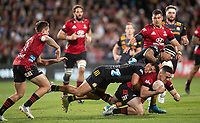 Anton Lienert-Brown and Jonah Lowe tackle Will Jordan during the 2021 Super Rugby Aotearoa final between the Crusaders and Chiefs at Orangetheory Stadium in Christchurch, New Zealand on Saturday, 8 May 2021. Photo: Joe Johnson / lintottphoto.co.nz